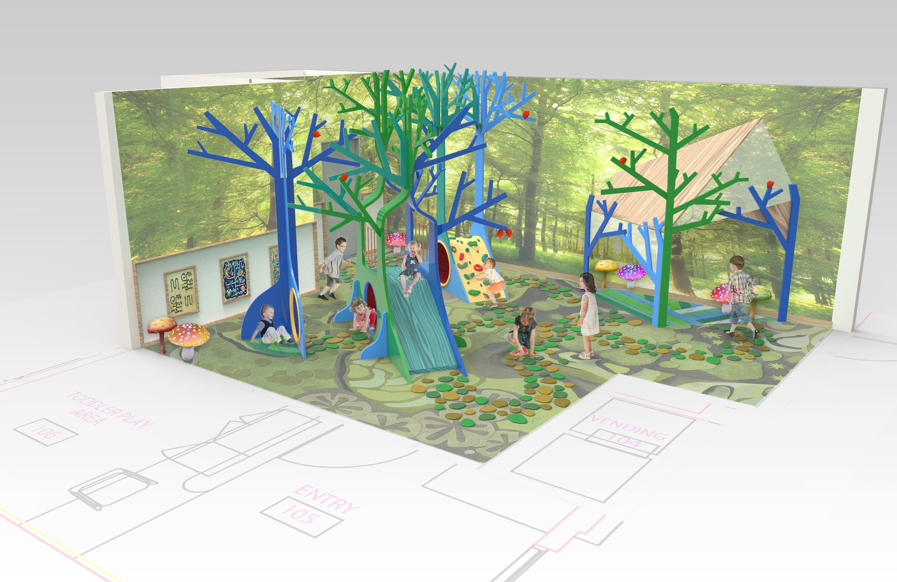 Tree Forest Playarea 3d Rendering