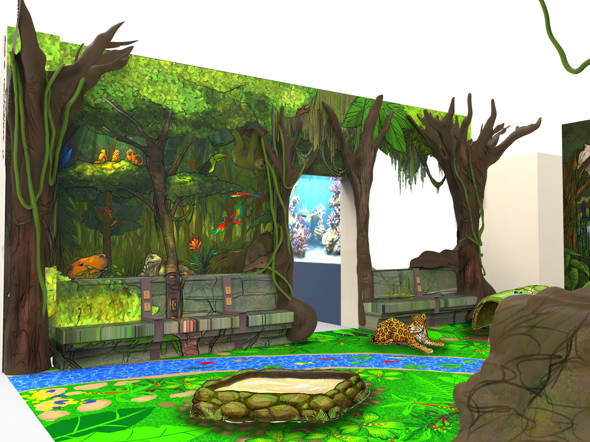 Urban Jungle Playarea 3d Rendering